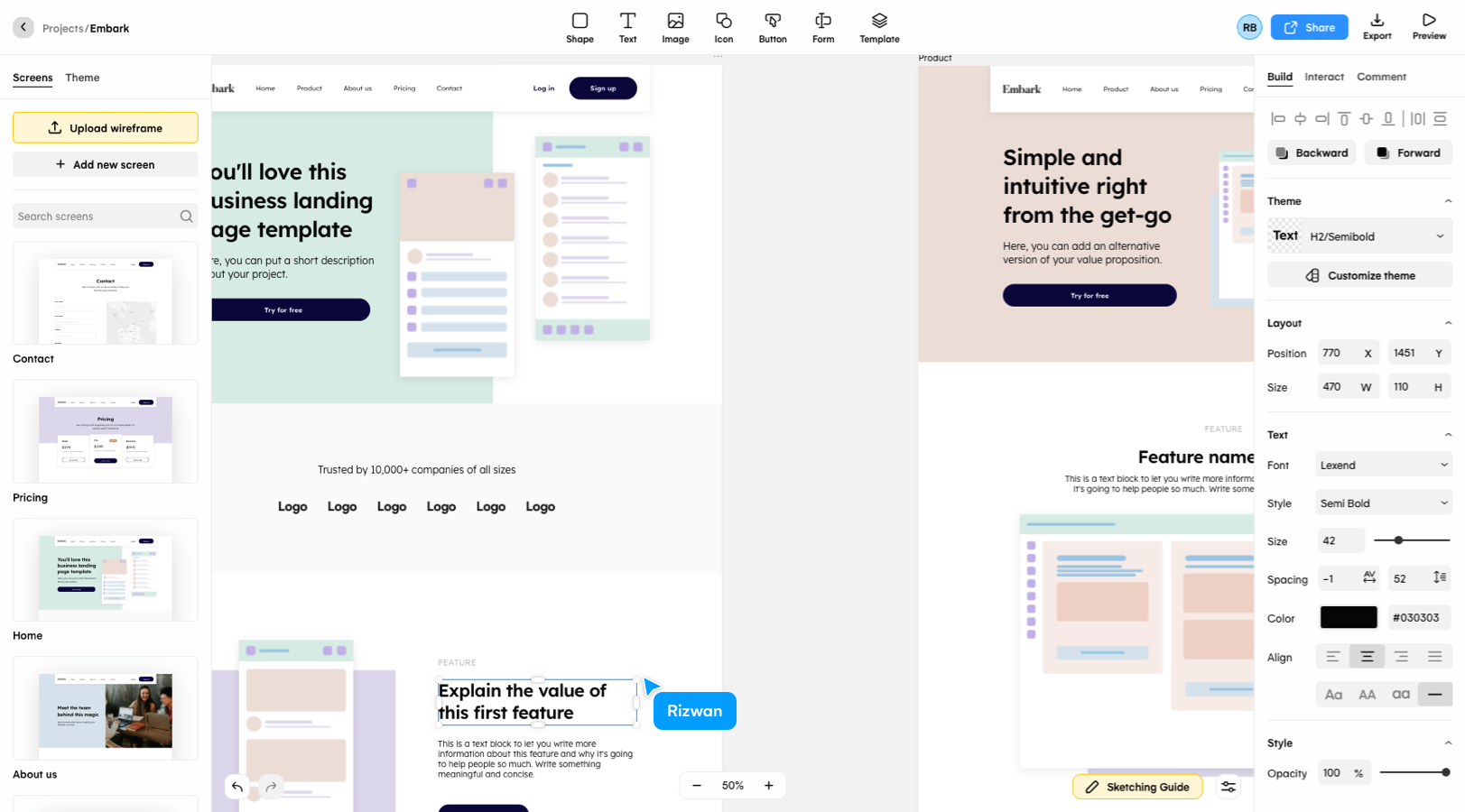 Creating a website design mockup in Uizard