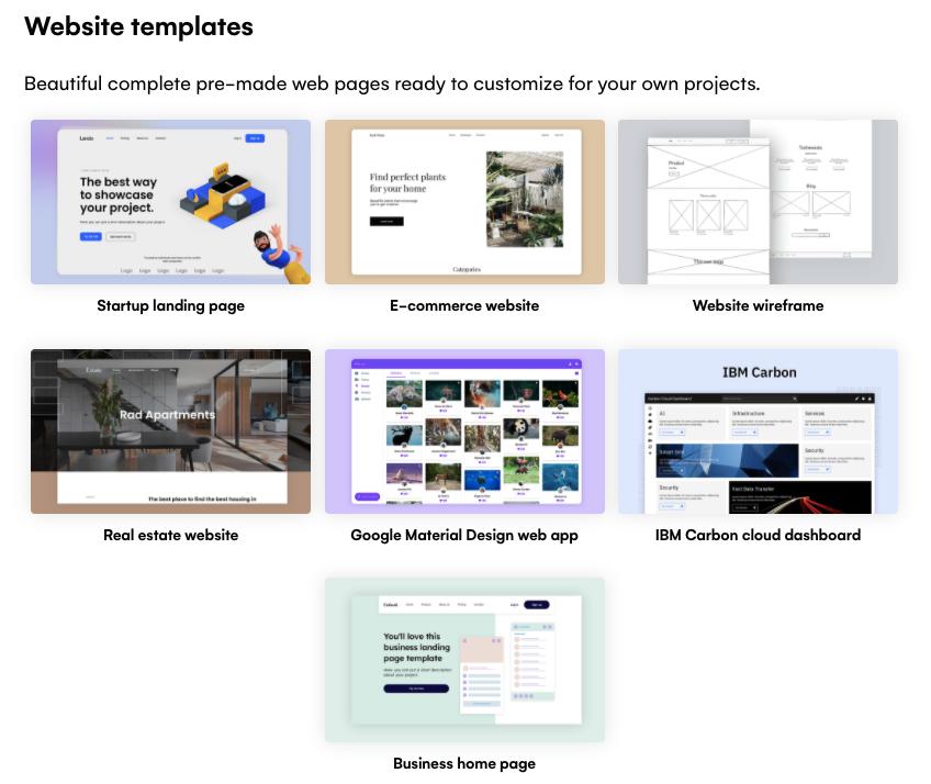 Website templates in Uizard
