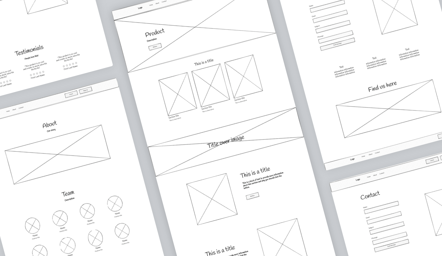 Image summary of website wireframe template