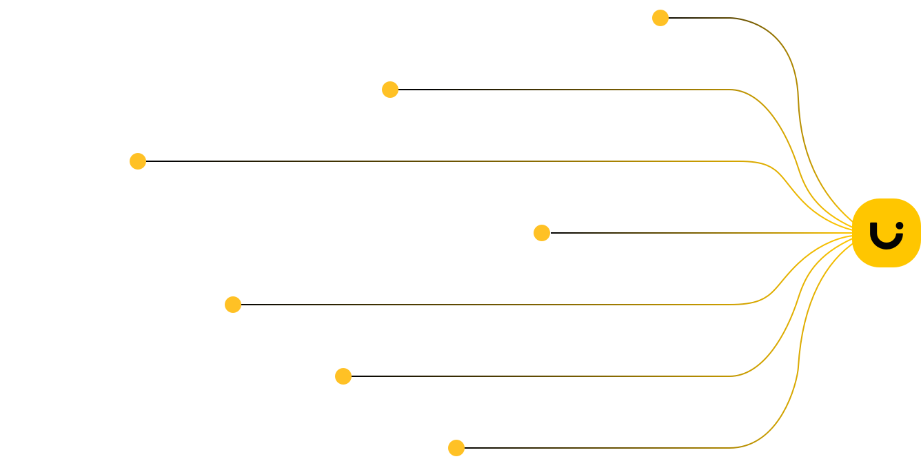 Graphics showcasing different technologies used at Uizard: Gradient Descent, Computational Design, Heuristics, Secret Sauce, Language Modeling, Computer Vision, Deep Neural Networks