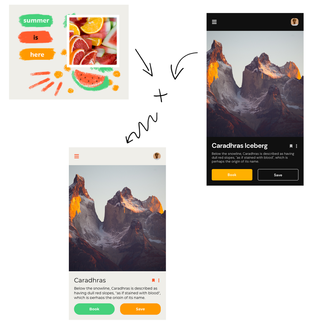 Image showcasing Uizard's capability to turn images into customizable design themes