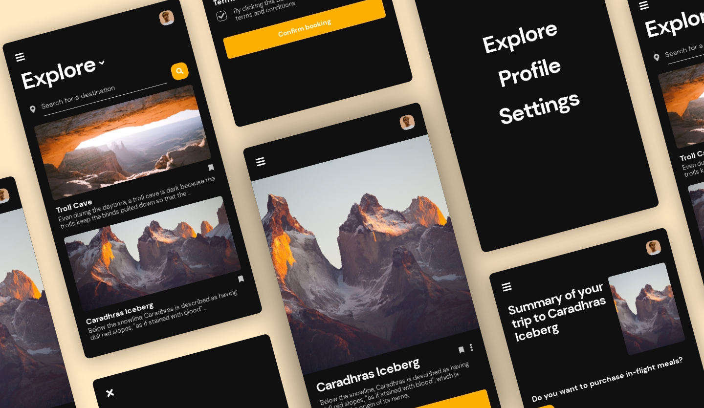 Image summary of Travel Mobile App template