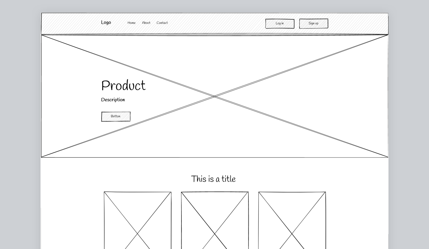 Screenshot of Website Wireframe: home page
