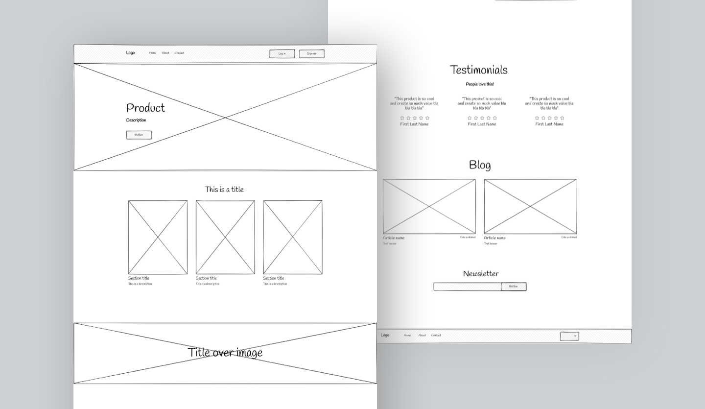 Screenshot of Website Wireframe: overview