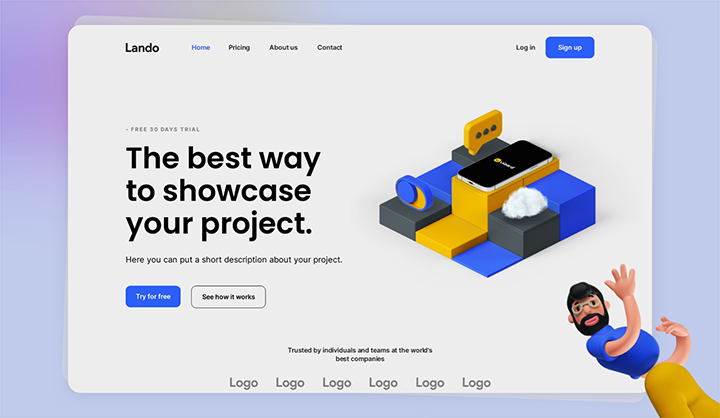 Startup landing page Lando example project image