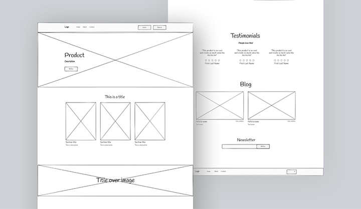 Website wireframe example project image